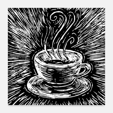 Black And White Collection Coffee woodcut - Poster 24 x 24 (60x60 cm)