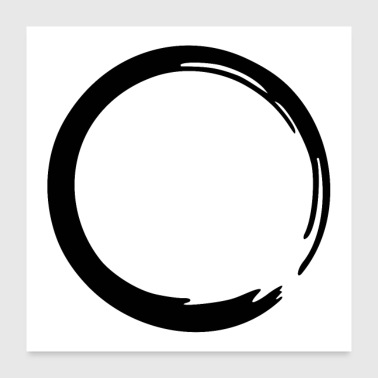 Zen Enso Zen circle meditation yoga Japan sign OM - Poster 24 x 24 (60x60 cm)