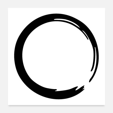 Buddhism Enso Zen circle meditation yoga Japan sign OM - Poster 24 x 24 (60x60 cm)