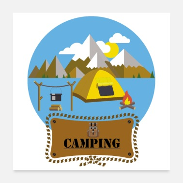 Tent Flat Design Outdoor Camping Campfire Tent Mountains - Poster