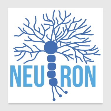 Beautiful brain neuron blue - Poster 24 x 24 (60x60 cm)