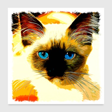 gxp sacred burma cat blue eyes vector art - Poster 24 x 24 (60x60 cm)