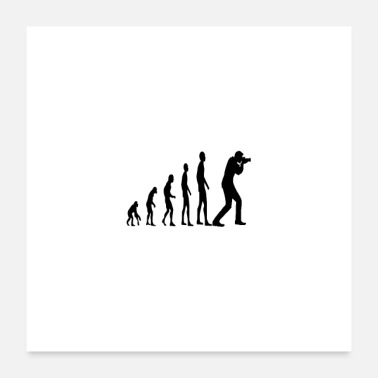 Antropoide Idea de regalo Evolution monkey human photographer - Póster 60x60 cm