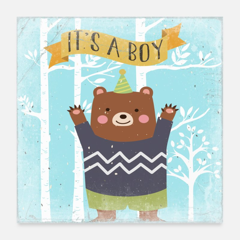 Collection For Kids V2 Posters - Little bear - animal lovers in the fairytale forest - Posters white