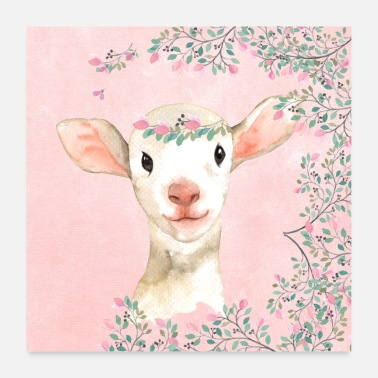 Lamb Forest friends in the pink blossom forest - The lamb - Poster