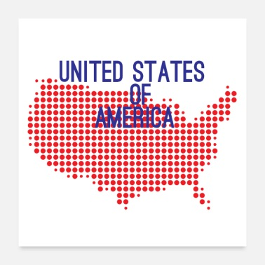United USA United States Land Design mit Nationalfarben - Poster 60x60 cm