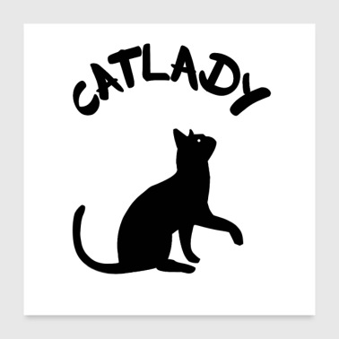 Cats Lady Motif Black - Poster 24 x 24 (60x60 cm)