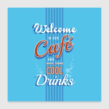 Cafe cool drinks retro bord - Poster 60x60 cm