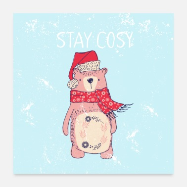 Christmas Collection Friends of the forest - bear with Santa hat - Poster 24 x 24 (60x60 cm)