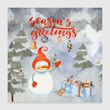 Wilderness Christmas greetings - merry snowman - Poster 24 x 24 (60x60 cm)