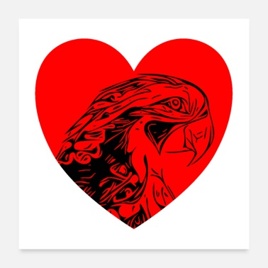 Rainforest Parrot with heart - Poster 24 x 24 (60x60 cm)