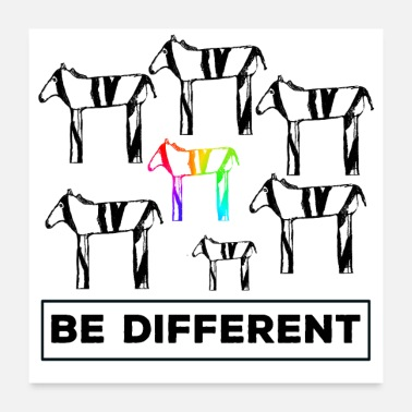 Anti Be different tolerance respect zebra anti-bullying - Poster 24 x 24 (60x60 cm)