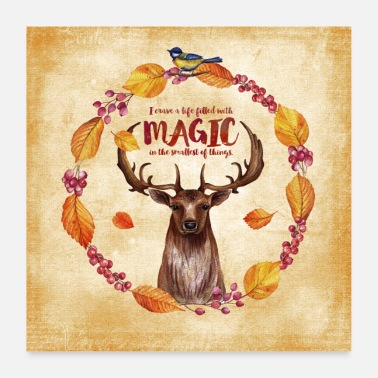 Stag Autumn friends - magic - deer - Poster 24 x 24 (60x60 cm)