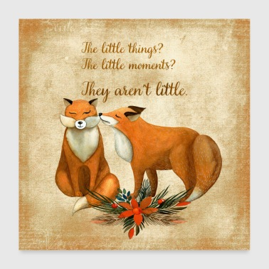 Autumn forest dwellers - fox pair - Poster 24 x 24 (60x60 cm)