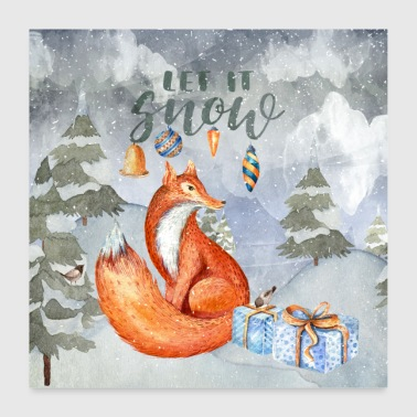Christmas greetings - fox in the winter forest - Poster 24 x 24 (60x60 cm)