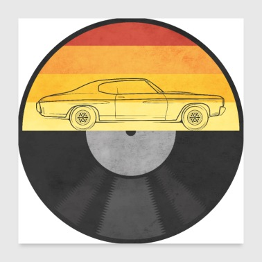 70's record car - Poster 24 x 24 (60x60 cm)