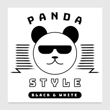 Teenager Cool Panda Style - Black & White - Poster 60x60 cm