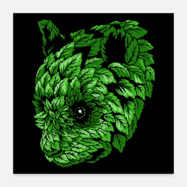 Animal Collection Green Panda - Poster 60x60 cm
