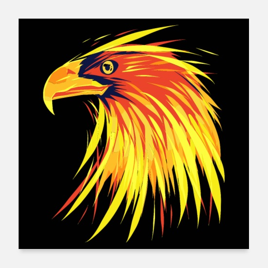 Aske Posters - Eagle of Fire - Burning Eagle - Posters hvid
