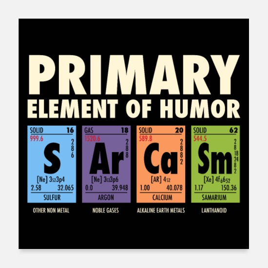 Geek Posters - S Ar Ca Sm - Periodic Table of Humor - Posters white