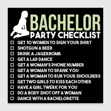 Bachelor Party Checklist - JGA Bräutigam Poltern - Poster 60x60 cm