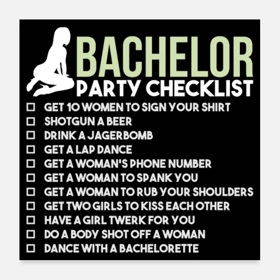 Alkohol Posters - Bachelor Party Checklist - JGA Brudgom Rumble - Posters hvid