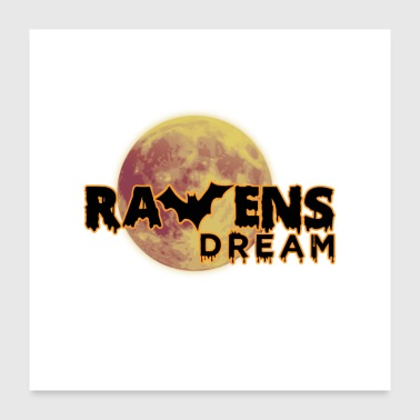Raver Ravens Dream Bat Full Moon - Poster 60x60 cm