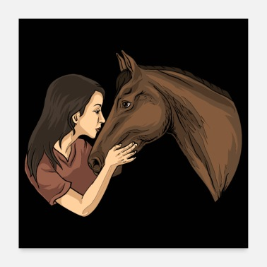 Horseman Girl Kissing A Horse - Horse Riding Horse Riding - Poster