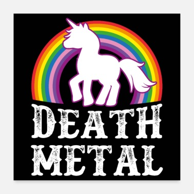 Heavy Metal Death Metal Unicorn - Poster 60x60 cm