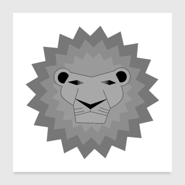 Adolescent lion gris / safari / animal / roi / - Poster 60 x 60 cm