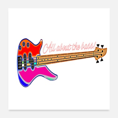Electricity Bass electric bass - Poster 24 x 24 (60x60 cm)