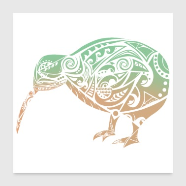 Maori Kiwi Bird Green Orange - Gift Idea - Poster 24 x 24 (60x60 cm)