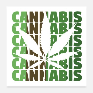 Hemp Cannabis hemp marijuana leaf - Poster 24 x 24 (60x60 cm)