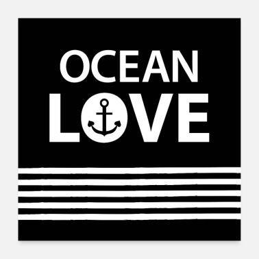 Cruise OCEAN LOVE - anchor and maritime stripes - Poster 24 x 24 (60x60 cm)