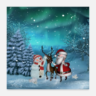 Santa Claus Cute Santa Claus with reindeer and snowman - Poster
