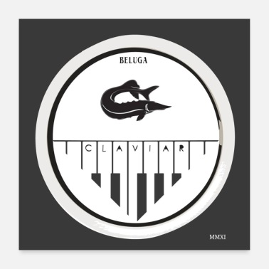 Key Button Fish and music - Poster 24 x 24 (60x60 cm)