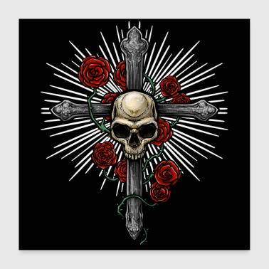 Rockabilly Cross with skull and roses - Poster 24 x 24 (60x60 cm)