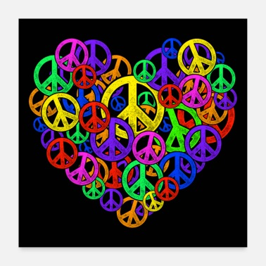 Democracy Peace is love - heart - Poster 24 x 24 (60x60 cm)
