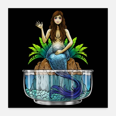 Mythical Creature Mermaid Illustration | Mythical creature mermaid sea - Poster