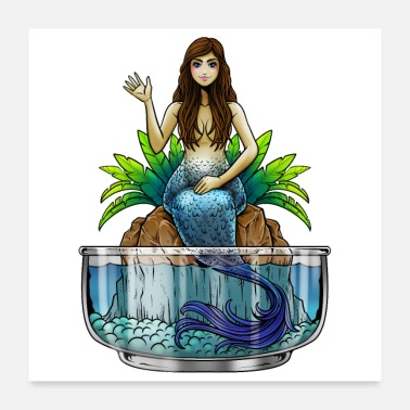 Sea Creatures Mermaid Illustration | Mythical creature mermaid sea - Poster 24 x 24 (60x60 cm)