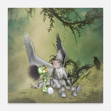 Pegasus Funny Pegasus friends with cute bird - Poster