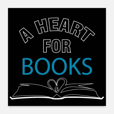 Spass A heart for books - Poster - Black - Poster 60x60 cm