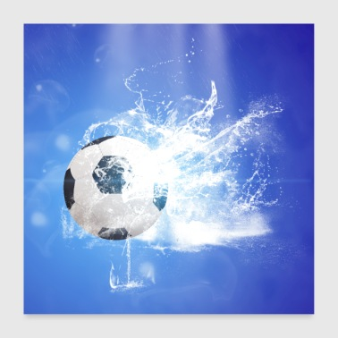Water Sports Soccer sport with water splash - Poster 24 x 24 (60x60 cm)