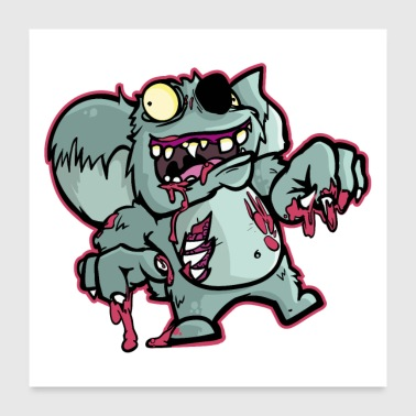 Monster Zombie Koala Bear Illustration | Halloween gift - Poster 24 x 24 (60x60 cm)