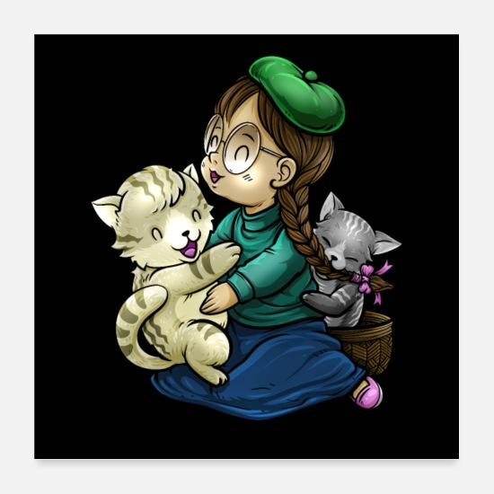 Cats And Dogs Collection Posters - Playing and cuddling with cats | Kitten meow - Posters white