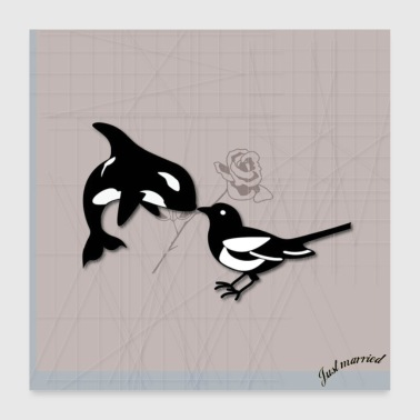 Engagement Magpie in Love - Poster 60x60 cm
