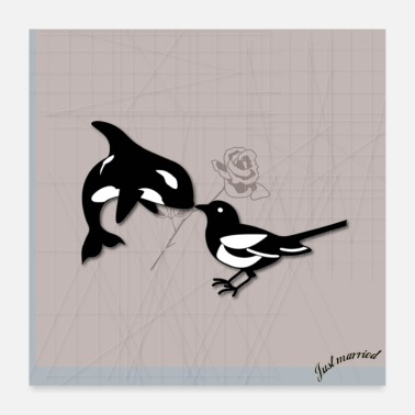 Engagement Magpie in Love - Poster 24 x 24 (60x60 cm)