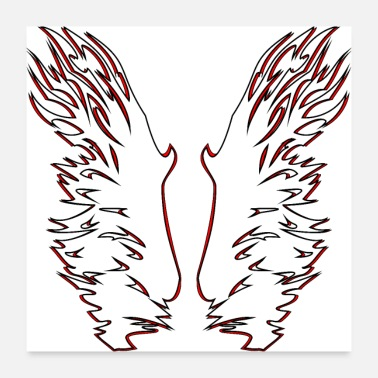 Stylish Wing Edition 3 in white / red for dark background - Poster 24 x 24 (60x60 cm)