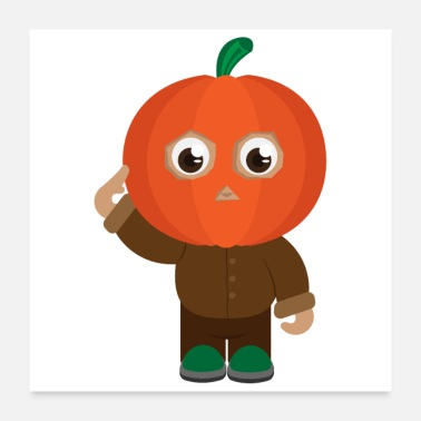 Patriot Halloween pumpkin soldier salute - gift idea - Poster 24 x 24 (60x60 cm)