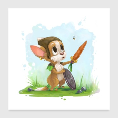 Mouse Adesivo Nursery mouse volpe con ape murale - Poster 60x60 cm